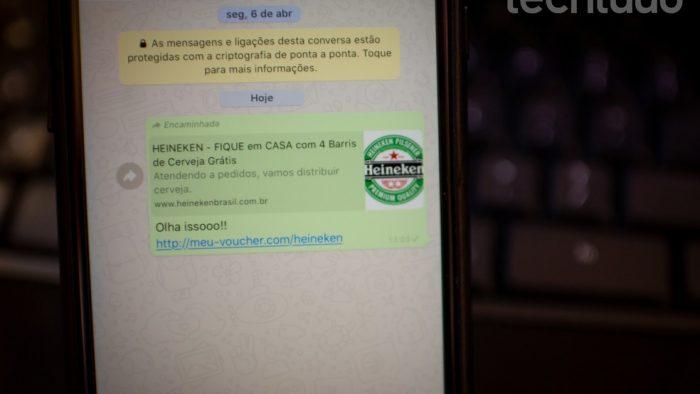 Suspeite de links de promoções enviados pelo WhatsApp — Foto: Rubens Achilles/TechTudo