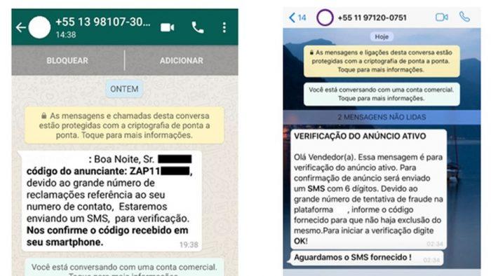Mensagens enviadas pelos criminosos para tentar roubar o código de autenticação do usuário e fazer um WhatsApp clonado — Foto: Reprodução/Kaspersky Lab — Foto: Reprodução/Kaspersky Lab